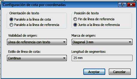 cuadro de diálogo Configuración de cotas por coordenadas