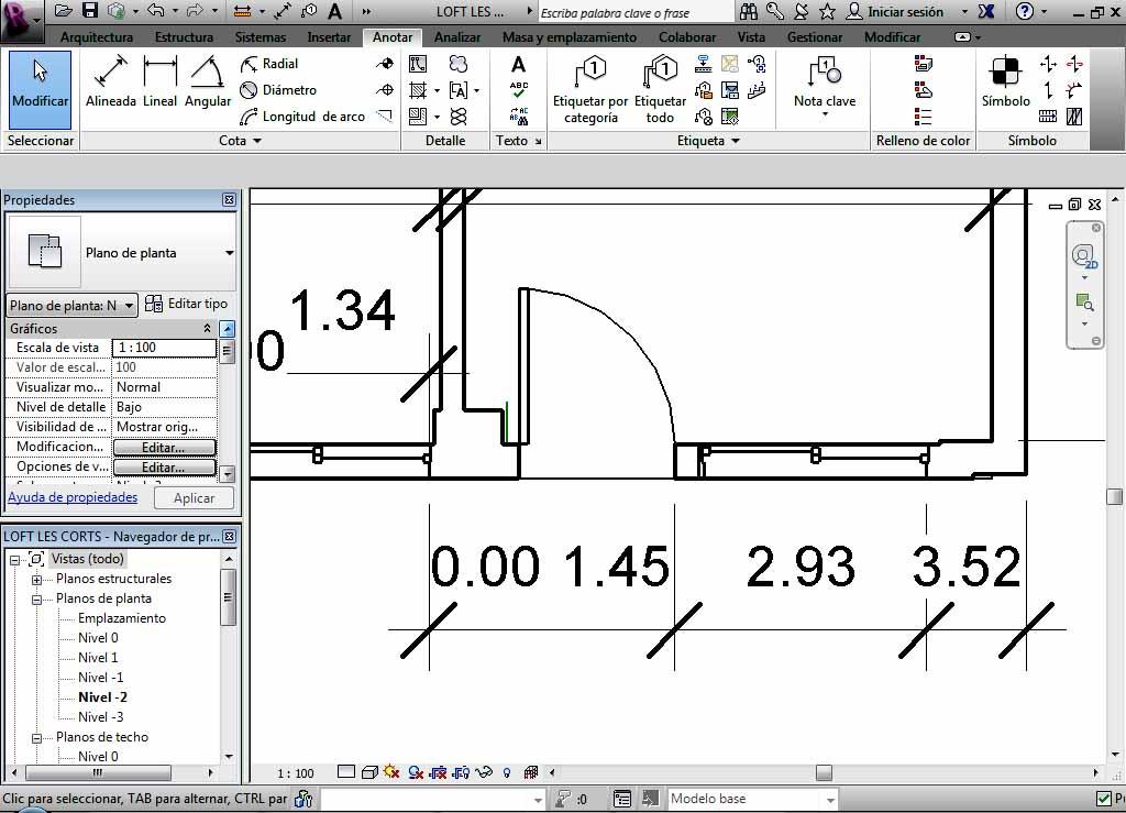 Ejemplo de cota por coordenadas