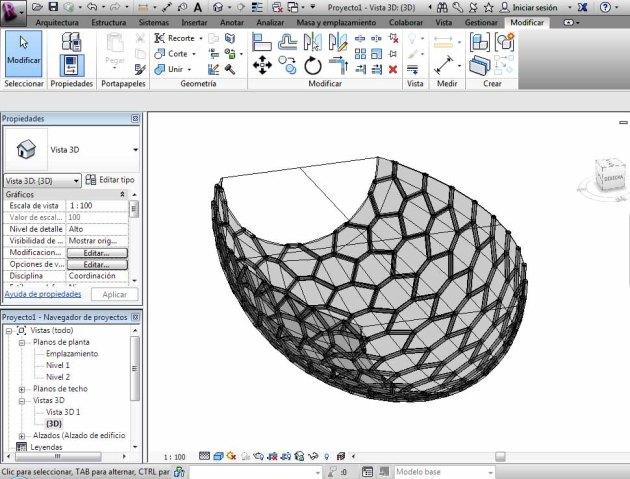 Masa superficie curvada con patrón hexagonal