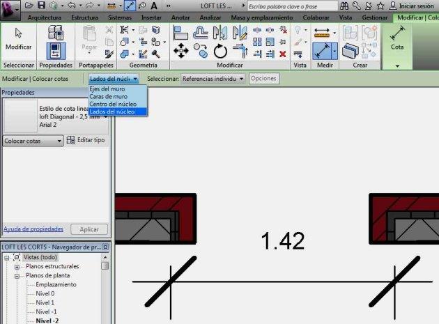 opción Lados del núcleo de la barra de herramientas superior para Cota alineada