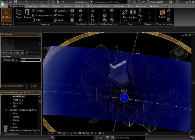 Desplazamiento del sol con puntos del forzado del cursor de la curva Analema