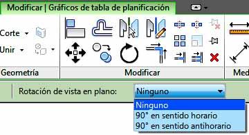 Opción Rotar Tabla de planificación