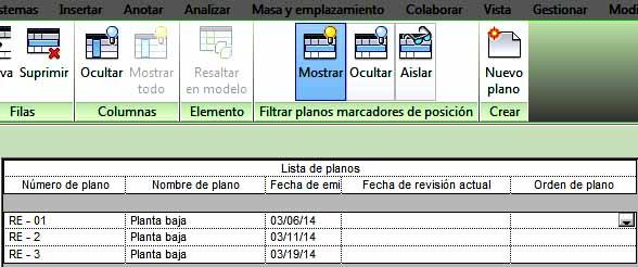 Nueva columna Orden de planos en la Lista de planos