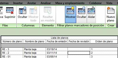 Nuevo orden de Lista de planos establecida con la numeración introducida en columna Orden de planos