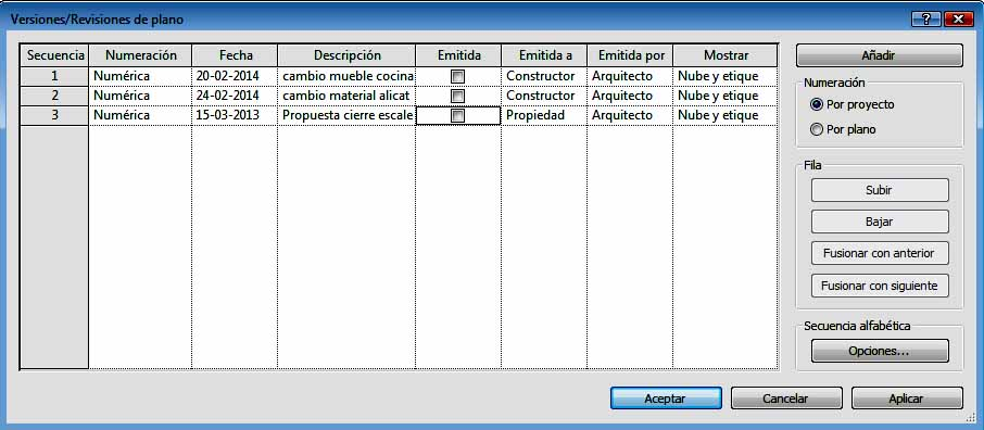 Cuadro de diálogo Revisión opción Por proyecto