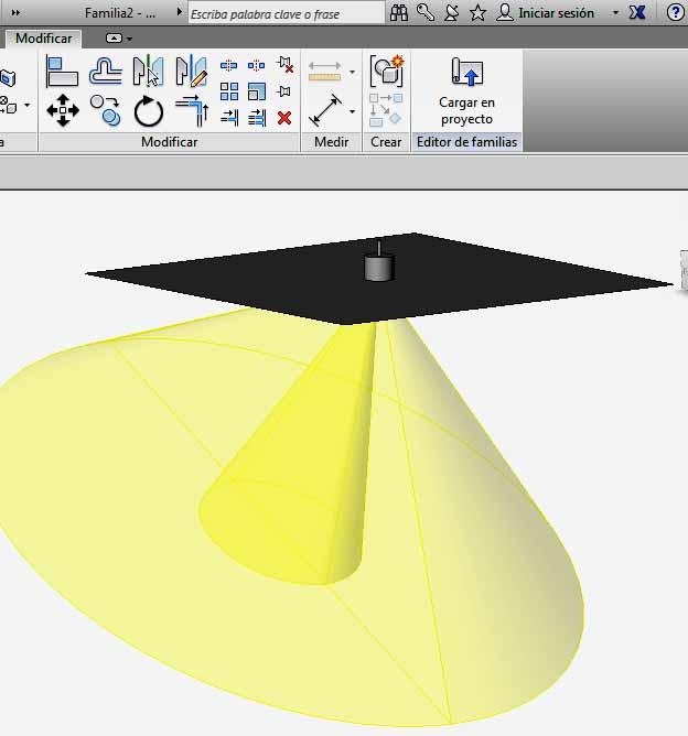 Geometría de Origen de luz creada con Extrusión