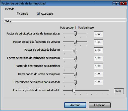 Cuadro de diálogo para cálculo por método Avanzado