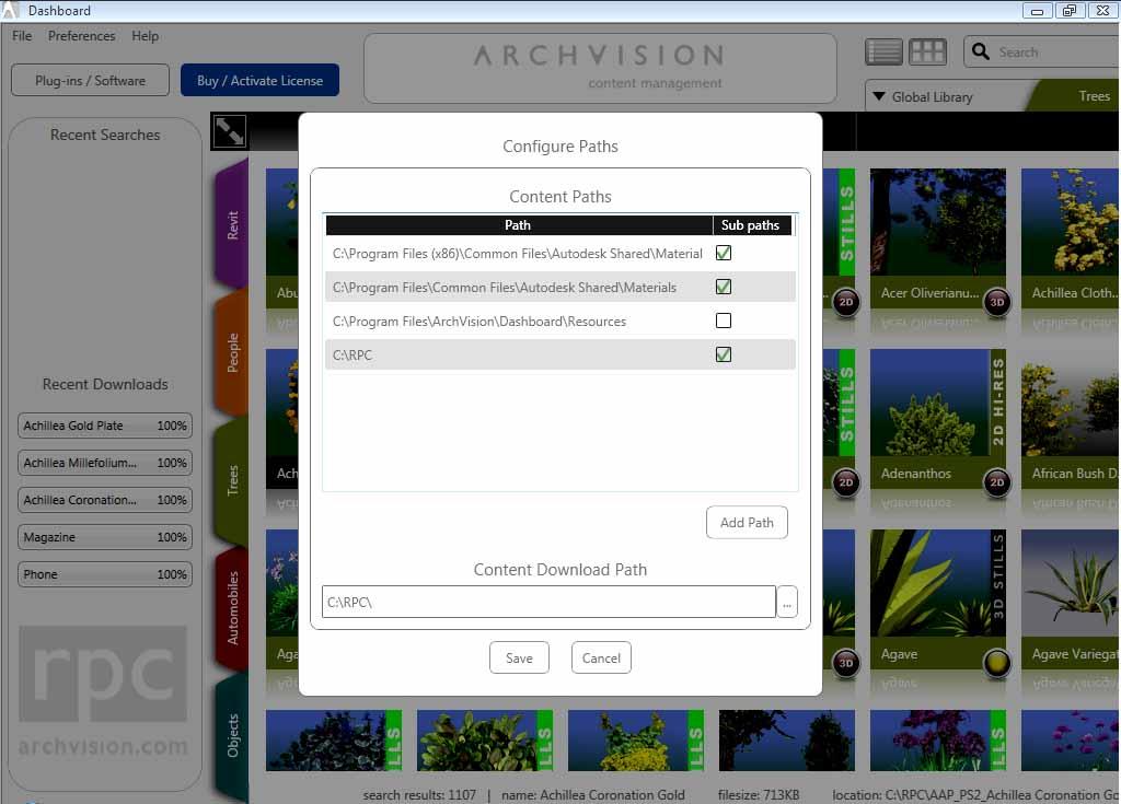 ArchVision indicación de la ruta donde se encuentran los RCPs adicionales