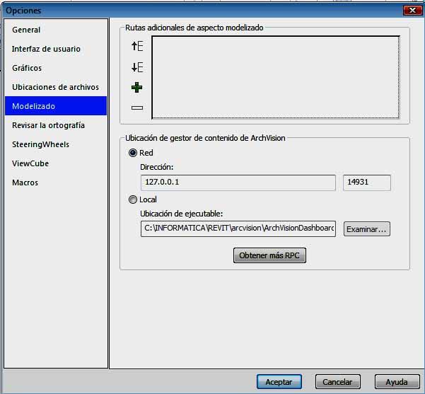 Configuración de Revit para lectura de RCPs adicionales