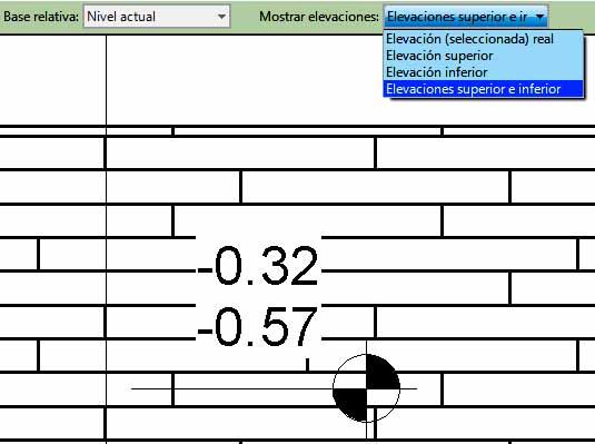 Cota de elevación que muestra el nivel superior e inferior de un elemento con grosor