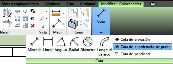 selección del tipo de cota desde barra de herramientas superior