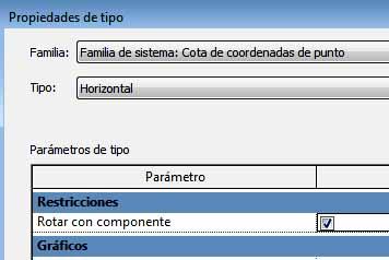 Cuadro de propiedades de tipo, opción Rotar con componente activa