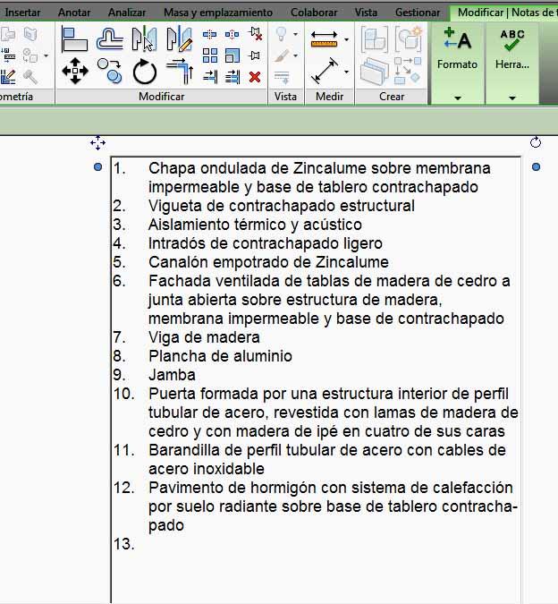 Lista realizada con Formato de párrafo y Números