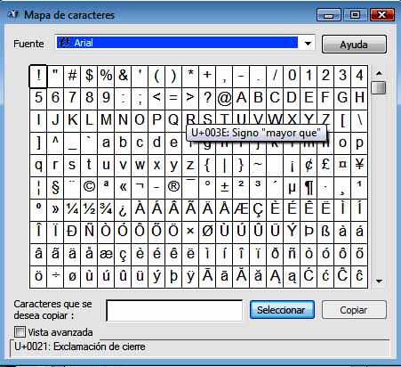 Cuadro de Caracteres de Windows