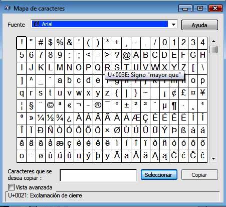 Cuadro de Caracteres de Windows