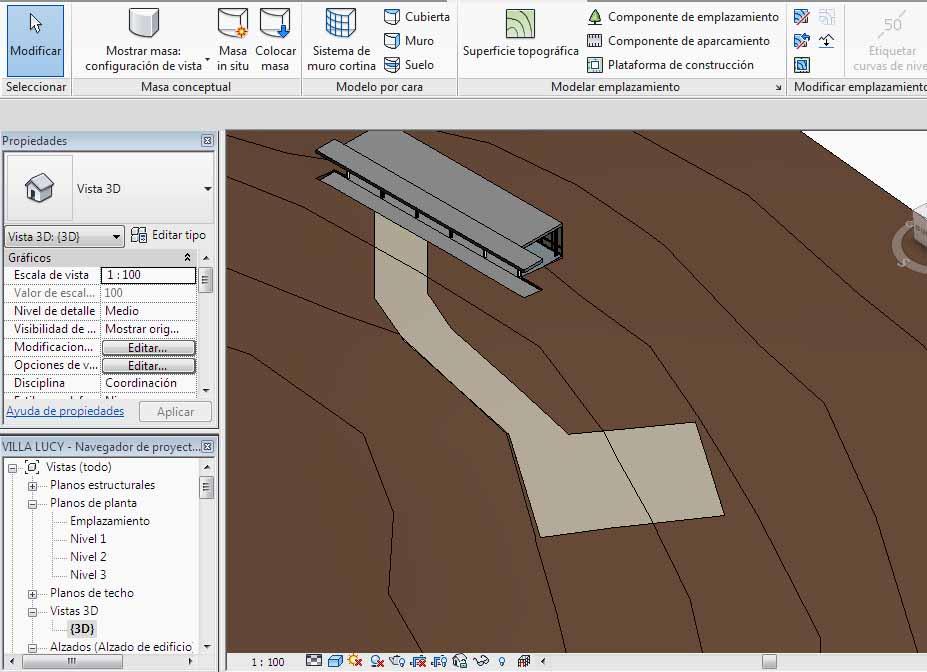 3D Subregión con las curvas de nivel de la superfície topográfica