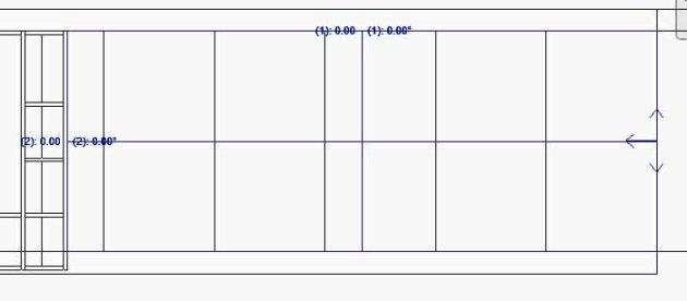 Flecha horizontal de Origen de justificación en extremo derecho de muro