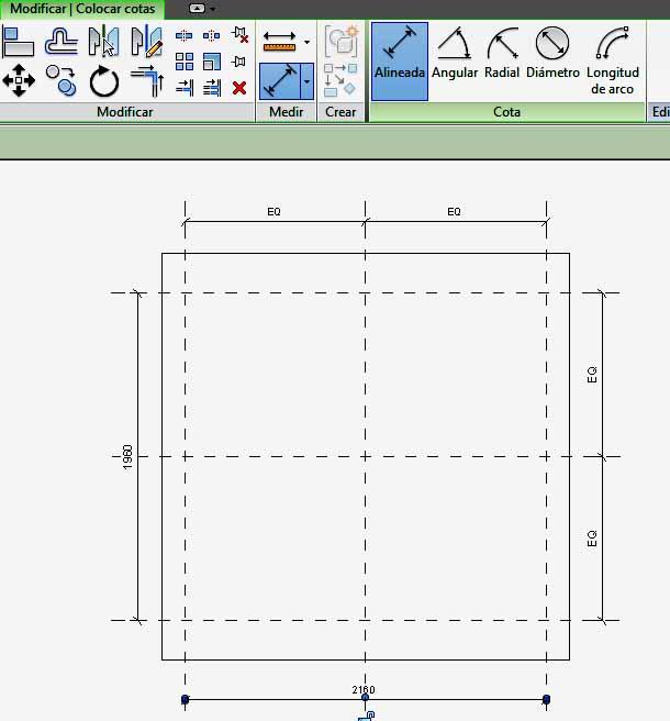 Resultado final de acotación de hueco de ventana, para parametrizar el mismo