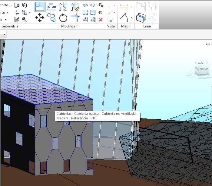 se selecciona el plano de cubierta del volumen bajo, que tiene fachada con patrón de rombo