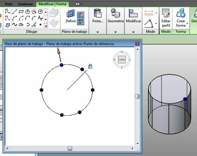 Plano de trabajo círculo superior del cilindro, se modifica perímetro desde Visor de proyecto