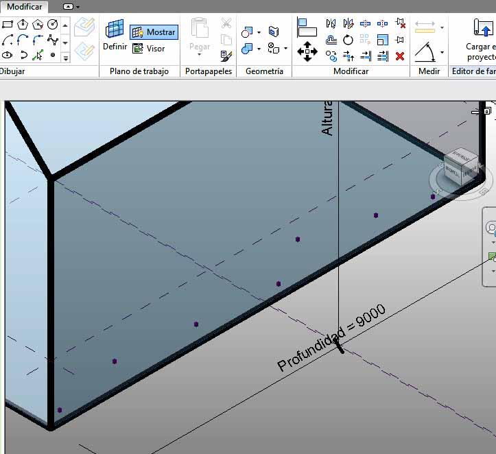 Puntos de referencia colocados en el plano horizontal inferior
