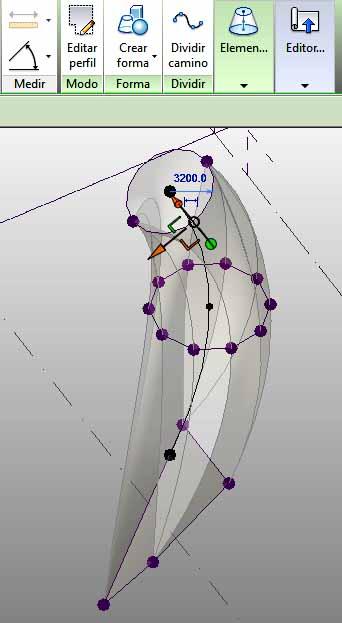 forma vista en rayos X, donde se pueden ver los distintos perfiles utilizados y el arco-camino