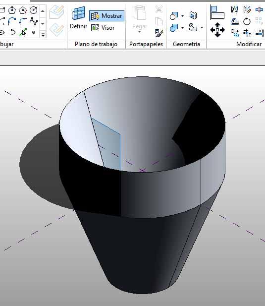 Forma modificada arrastrando pinzamientos 3D por ejes de coordenadas globales