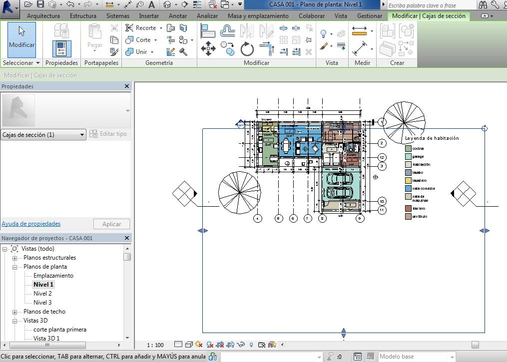 Vista de plano con Caja de sección activa-flechas azules