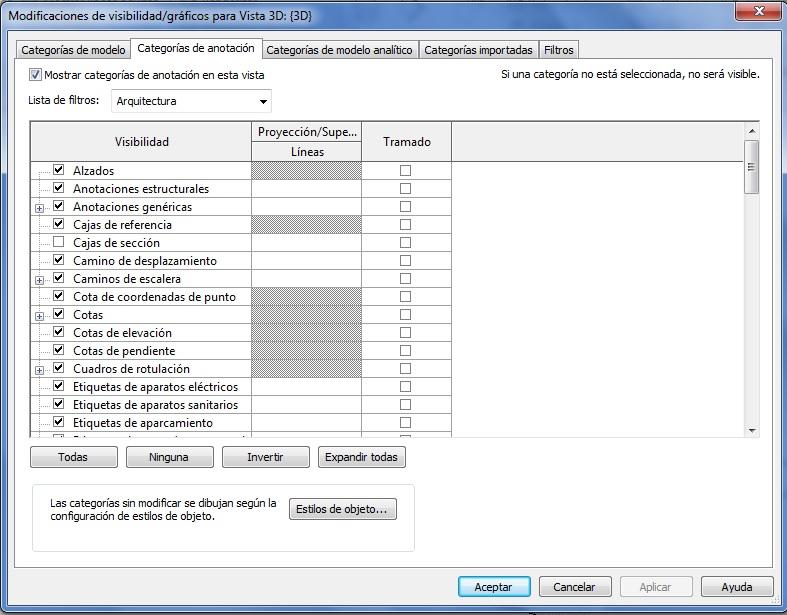 Cuadro de diálogo de modificaciones de Visibilidad/Gráficos