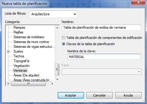 Cuadro de diálogo Tabla de planificación