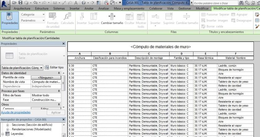 Tabla de planificación de cómputo de materiales