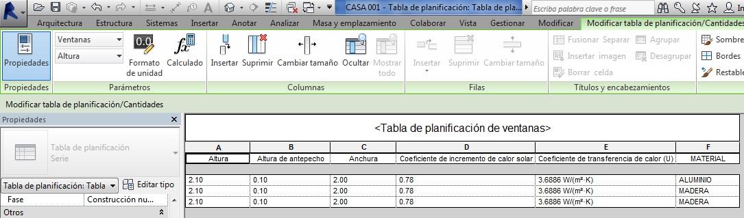 Tabla de planificación de ventanas con el filtro de altura de antepecho