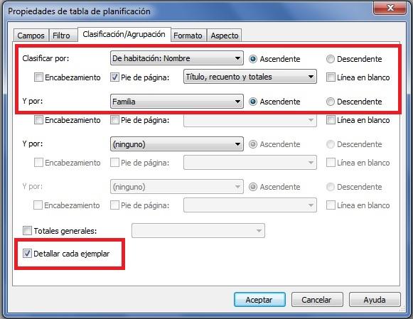 Activar la opción Detallar cada ejemplar