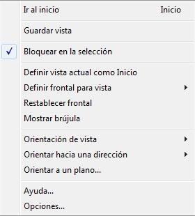 Opciones del botón derecho del ratón de ViewCube