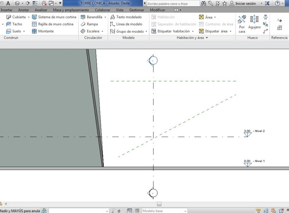 Planos de referencia que cortan un plano de sección vertical