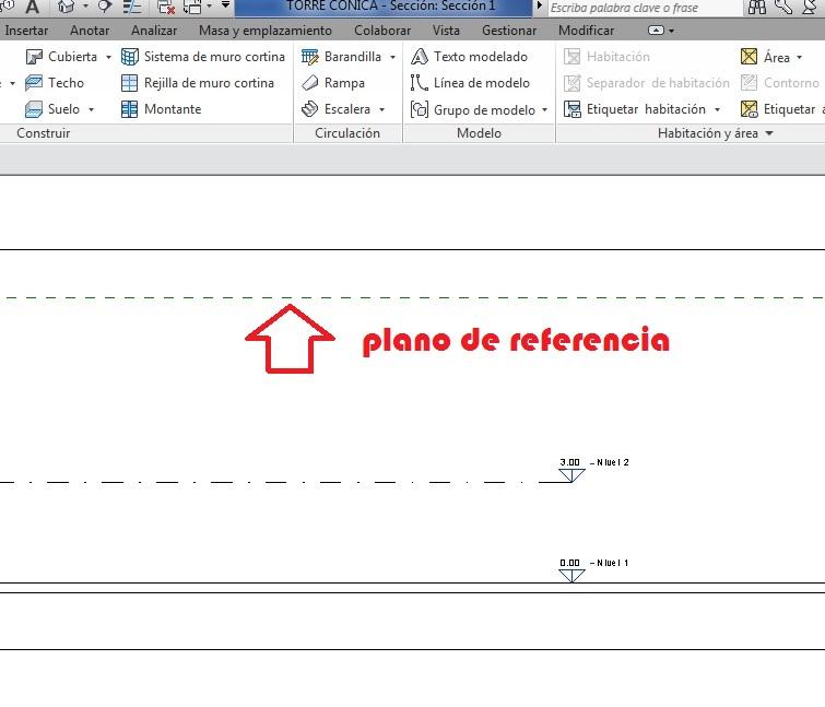 Vista de sección donde solamente se ve el plano de referencia que corta el plano de sección