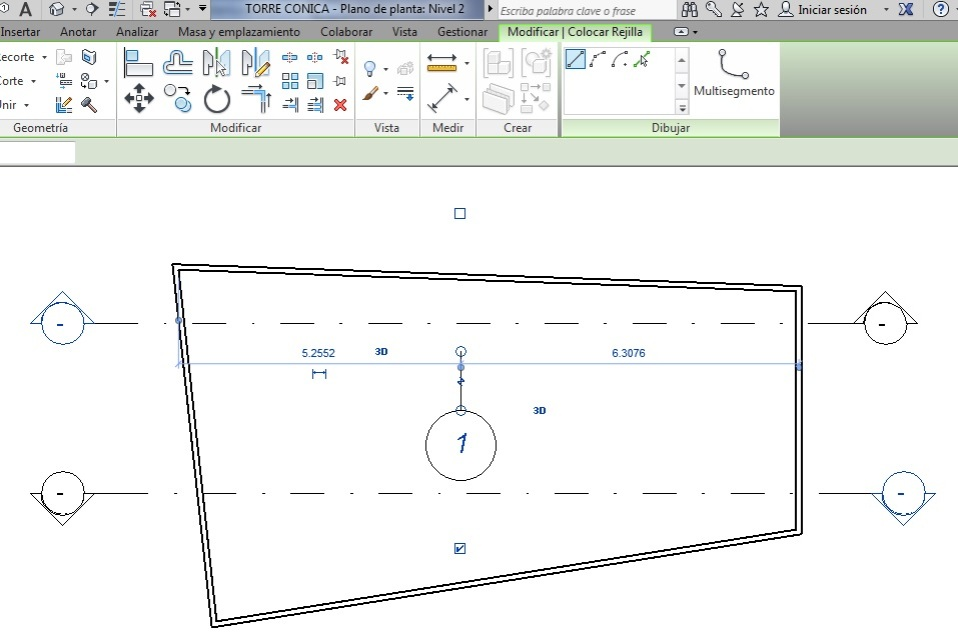 Extensiones de modelo 3D que no cortan los dos planos verticales de sección