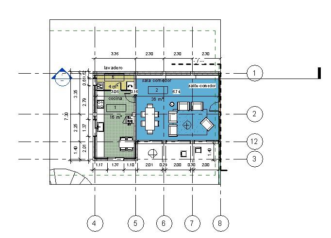Vista dependiente de un ala de la vivienda con una caja de referencia y sus Rejillas asociadas
