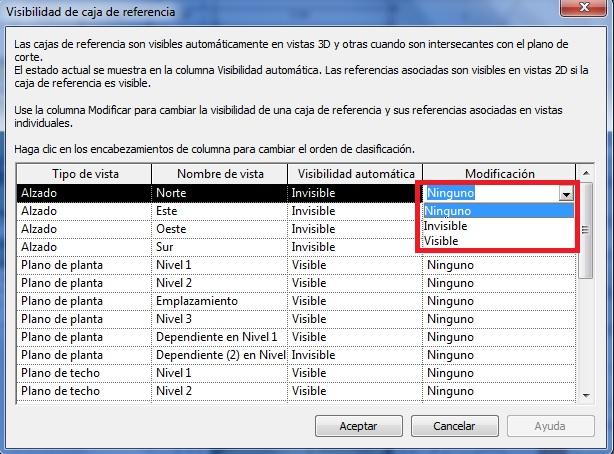 Cuadro de diálogo Visibilidad de la caja de referencia, donde se realiza modificación en un vista de alzado
