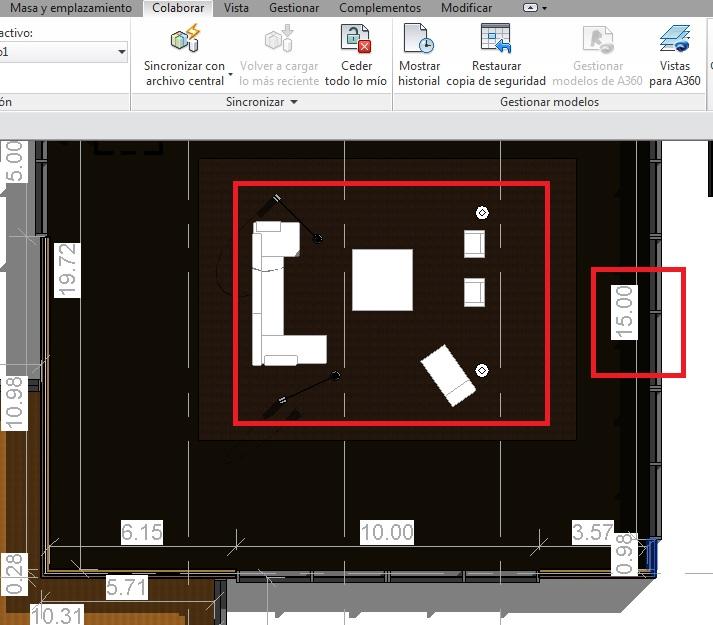 Los elementos del Subproyecto Furniture se muestran en gris al seleccionar esta opción porque no es un subproyecto activo, igual que el caso de las cotas que forma parte del Subproyecto Vistas