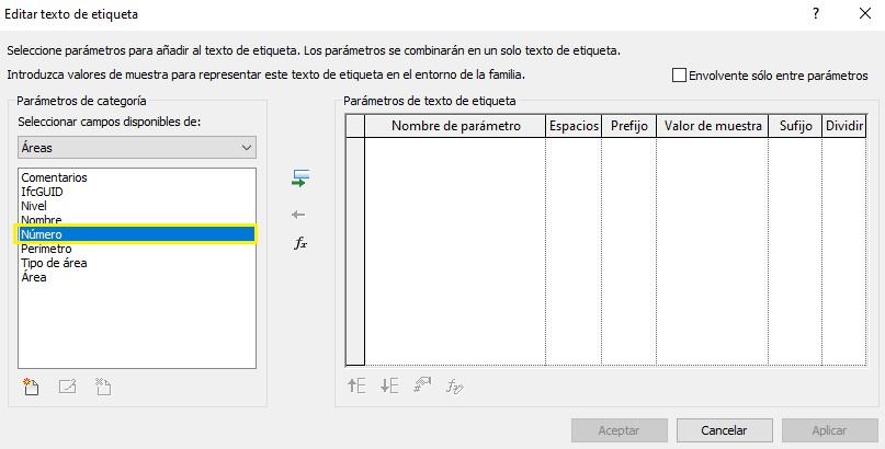 Cuadro de diálogo Editar texto de etiqueta, donde se pueden introducir diferentes parámetros en una etiqueta de área, entre ellos el de Número
